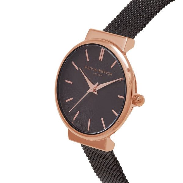 THE HACKNEY BLACK DIAL IP MESH & ROSE GOLD