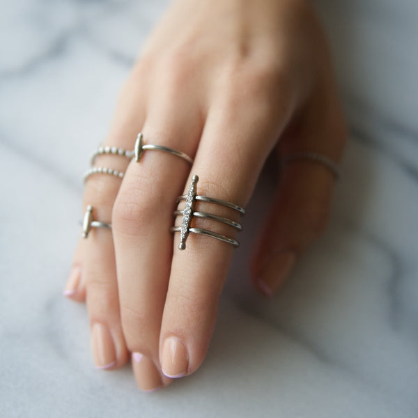 THE PAVE MARQUISE RING - SILVER OX