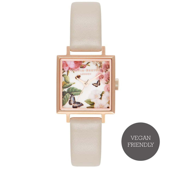 Enchanted Garden Midi Square Dial Nude & Rose Gold Watch (Vegan Friendly)