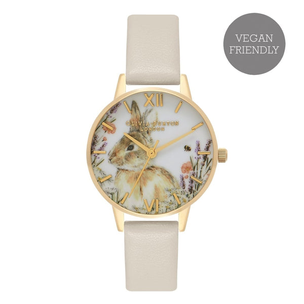 Vegan Friendly Woodland Bunny Nude & Gold Watch