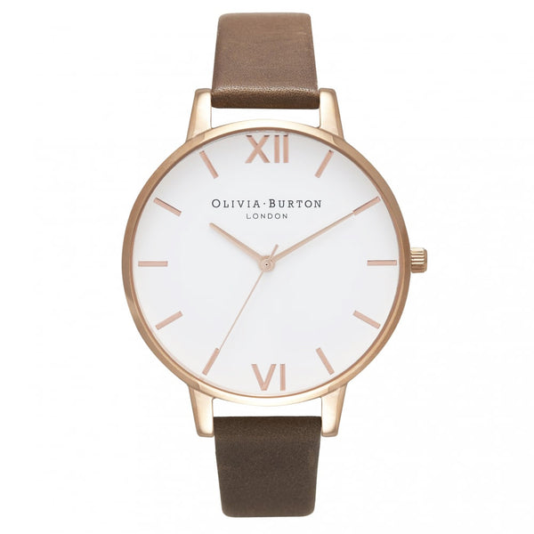 WHITE DIAL BROWN STRAP & ROSE GOLD