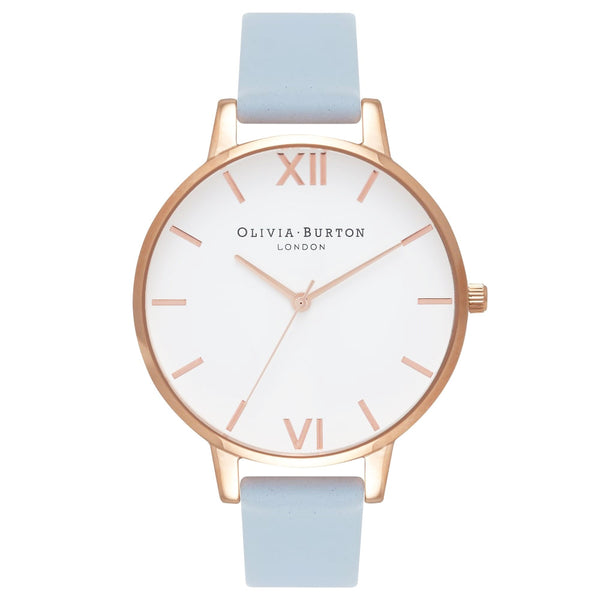 WHITE DIAL CHALK BLUE STRAP & ROSE GOLD