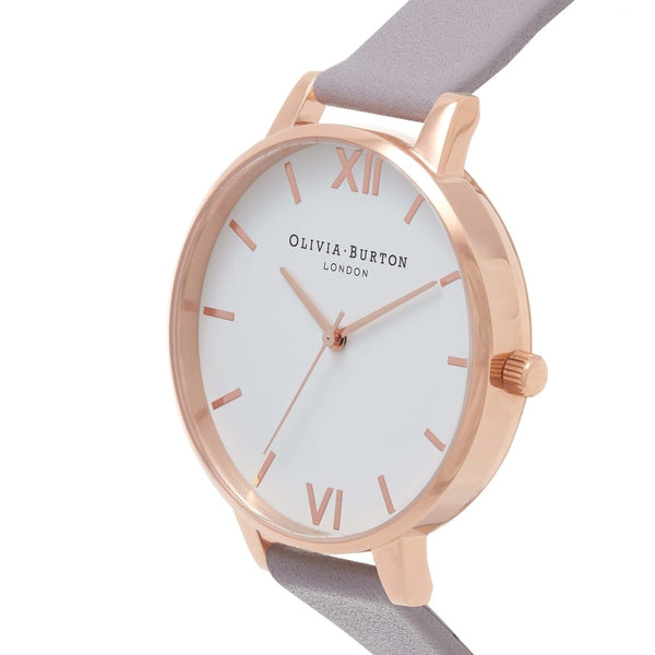 WHITE DIAL GREY LILAC STRAP & ROSE GOLD