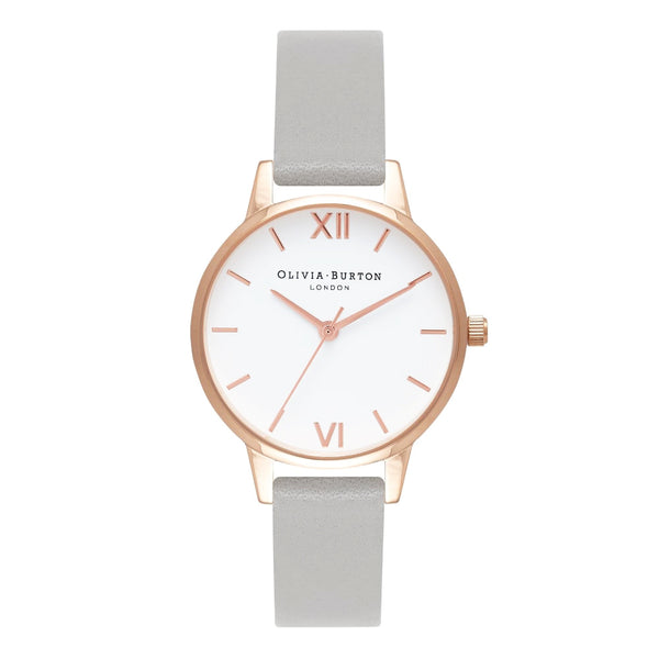 WHITE DIAL MIDI ROSE GOLD & GREY STRAP