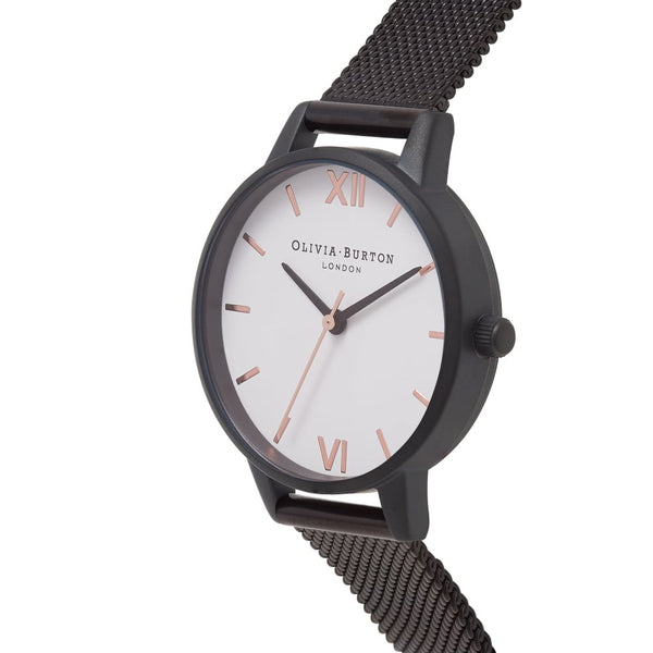 MIDI WHITE DIAL IP BLACK MESH & ROSE GOLD