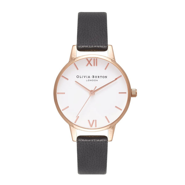 WHITE DIAL MIDI ROSE GOLD & BLACK STRAP