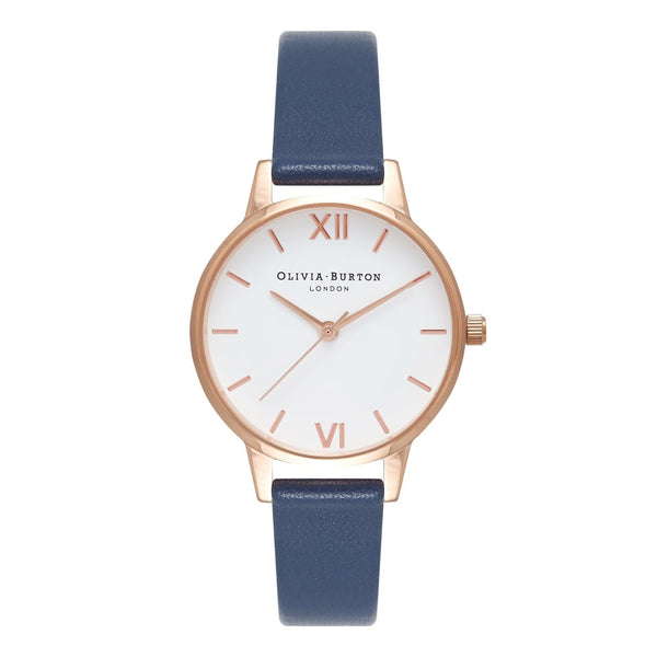 WHITE DIAL MIDI ROSE GOLD & NAVY STRAP