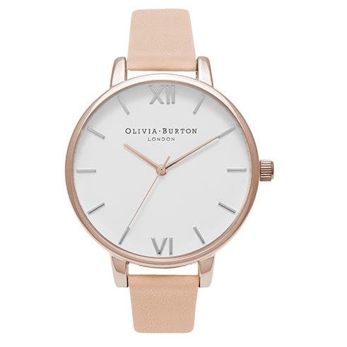 WHITE DIAL PEACH STRAP & MIX SILVER, ROSE GOLD