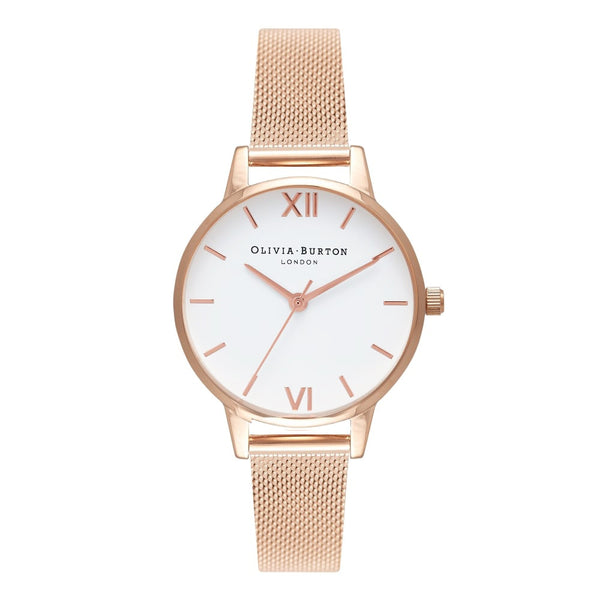 MIDI WHITE DIAL ROSE GOLD MESH