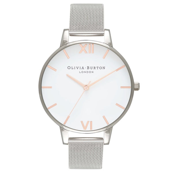 White Dial Rose Gold & Silver Mesh Mix