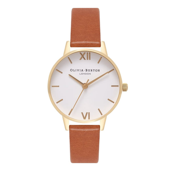 WHITE DIAL MIDI ROSE GOLD & TAN STRAP
