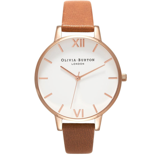 WHITE DIAL TAN PINK STRAP & ROSE GOLD