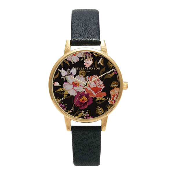 MIDI DIAL WINTER GARDEN BLACK AND GOLD FLORAL