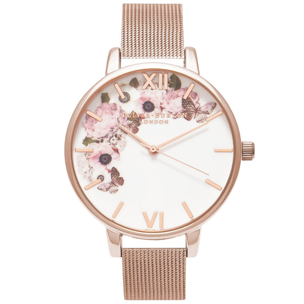 Winter Garden Rose Gold Mesh Strap