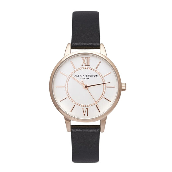 MIDI WONDERLAND SILVER DIAL AND ROSE GOLD, BLACK STRAP