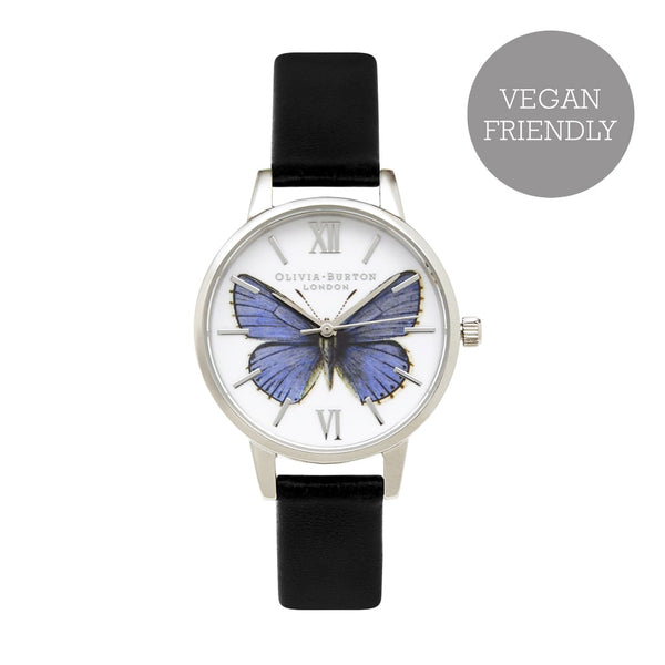 MIDI DIAL WOODLAND BUTTERFLY BLACK & SILVER