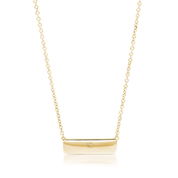 (PRE-ORDER) Diamond Yellow Gold Plate Necklace