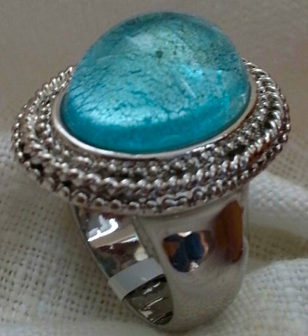 CBG Venetian Muran Glass Silver Dipped Rotonda Light Blue Murano Cocktail Ring