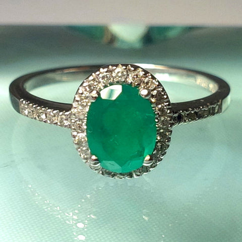 Colombian .70 ct Emerald Ring With .15 ct Diamonds set in 14Kt White Gold