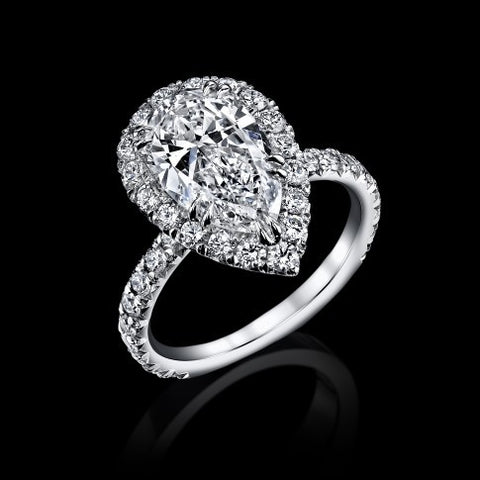 Flawless 4.77ct Siberian Pear Shape Diamond Ring