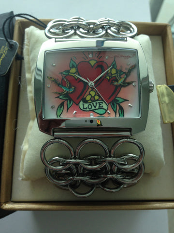 ED HARDY FASHION WATCH TRIPLE HEART TATTOO with Steel Band (LY-HT 3883)