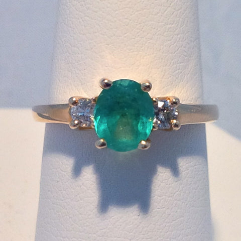 Colombian Emerald .76ct Ring With .20ct Diamonds set in 14Kt Yellow Gold