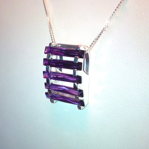 IfULoveMe in Brazil 925 Stairway 5ct Amethyst Pendant in Silver