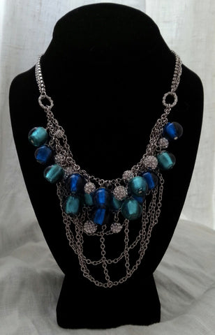 CBG Venetian Murano Glass Silver Dipped Multi Blue Cocktail Necklace