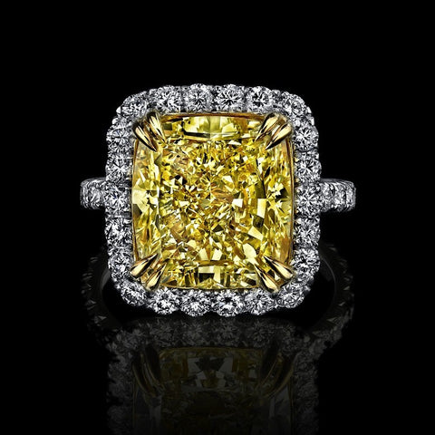 Amazing 3.01ct Siberian Canary Yellow Cushion Cut Ring