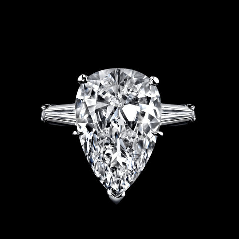 Internally Flawless Siberian Pear Shape 6.11ct Diamond Ring