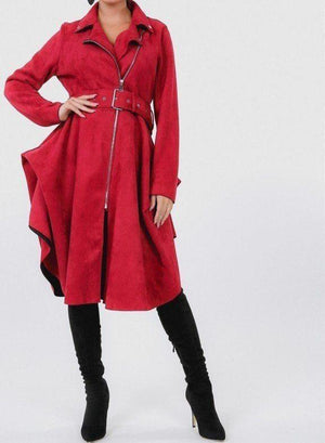Waist Belt Faux Suede Coat