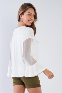 White Open Sleeve Top