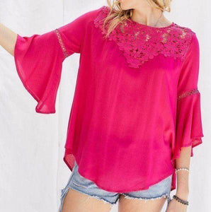 Floral Mesh Lace Accent Crochet Top