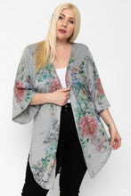 Load image into Gallery viewer, Grey Floral Long Body Cardigan