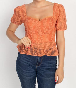 Sheer Lace Sweetheart Top