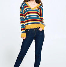 Load image into Gallery viewer, Multi-colored Striped Knit Sweater