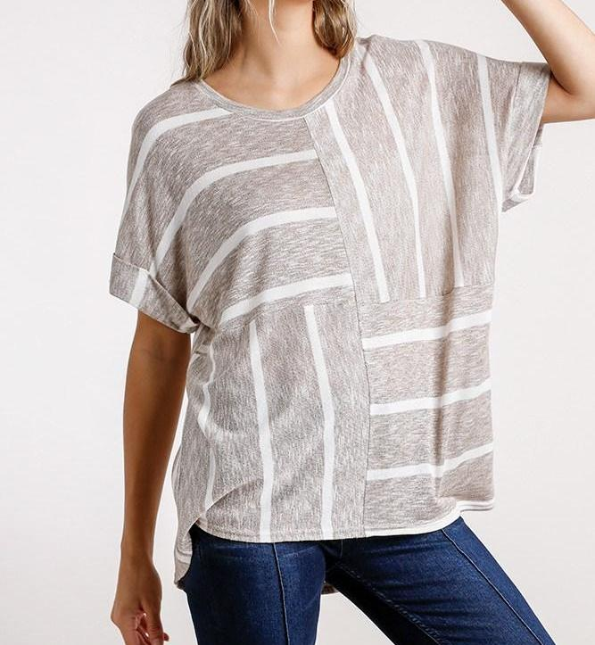 Horizontal And Vertical Striped Top