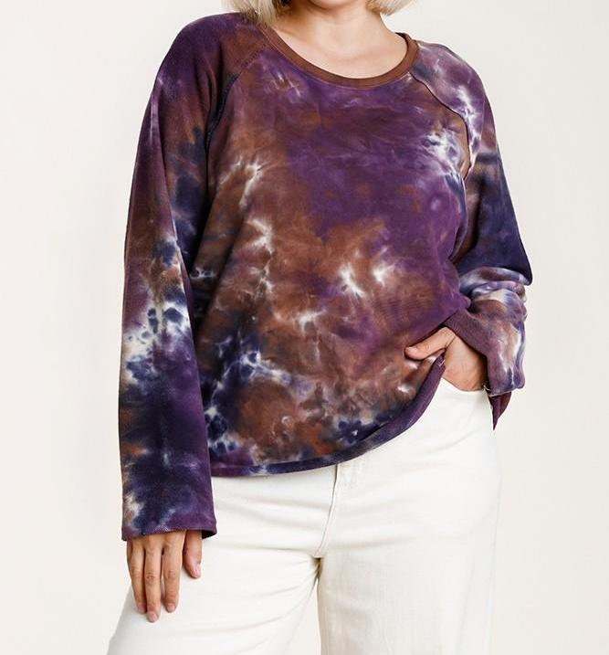French Terry Tie-dye Raglan Top