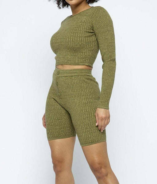Knit Cropped Top Set