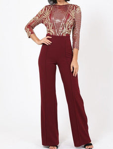 Gold Sequin Pattern Jumpsuit