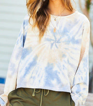 Load image into Gallery viewer, Oversize Crop Tie-dye French Terry Pullover