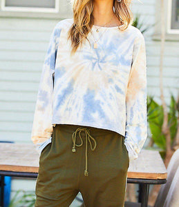 Oversize Crop Tie-dye French Terry Pullover