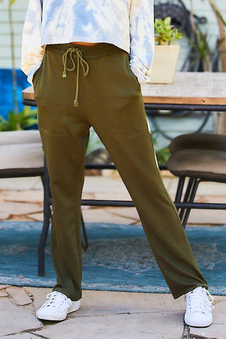 Adjustable Waist French Terry Solid Pants