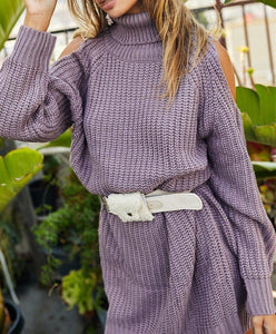 Turtle Neck Cold Shoulder Oversize Sweater Dress