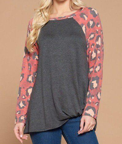 Casual French Terry Side Twist Top With Animal Print