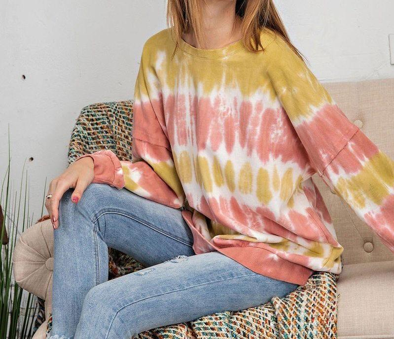 Ombre Dye Terry Knit Pullover Top