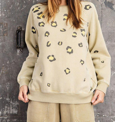 Leopard Print Washed Terry Sweatshirt