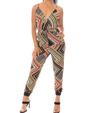 Load image into Gallery viewer, Boarder Print Wrap Jumpsuit