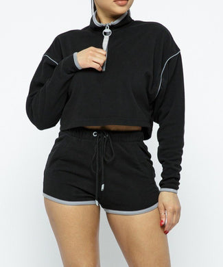 Sporty Crop Top Shorts Set