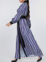 Load image into Gallery viewer, Plaid Shirt Maxi Dress With Gold Buckle Belt